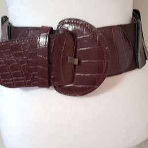 BEBE Croc Embossed Faux Leather Stretch Belt
